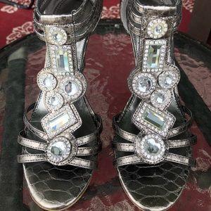 Guess metallic leather jewel wedge sandal